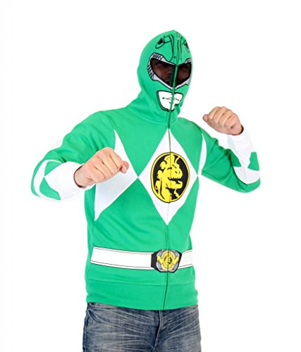 Power Rangers I Am Green Ranger Adult Full Zip Costume Hoodie (Adult Large)