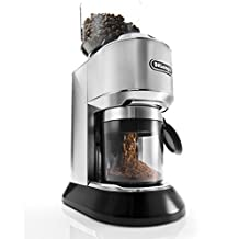 DeLonghi KG521M Dedica Stainless Steel Conical Burr Digital 12oz Grinder with 18 Grind Settings and Portafilter Adaptor
