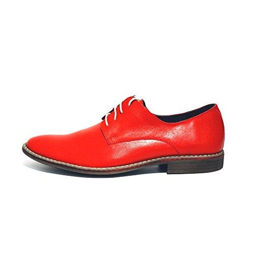 PeppeShoes Modello Montegranaro - Handmade Italiennes Cuir Pour des Hommes Rouge Chaussures Oxfords - Cuir de Vachette Cuir Souple - Lacer