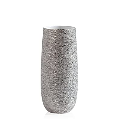 Torre & Tagus Brava Spun Textured Vase, Short, Silver - Handcrafted by skilled artisans Textured, metallic ceramic vase with a smooth white interior Due to the artisan crafted nature of this product, no two will be identical - vases, kitchen-dining-room-decor, kitchen-dining-room - 41X5 XA9PTL. SS400  -