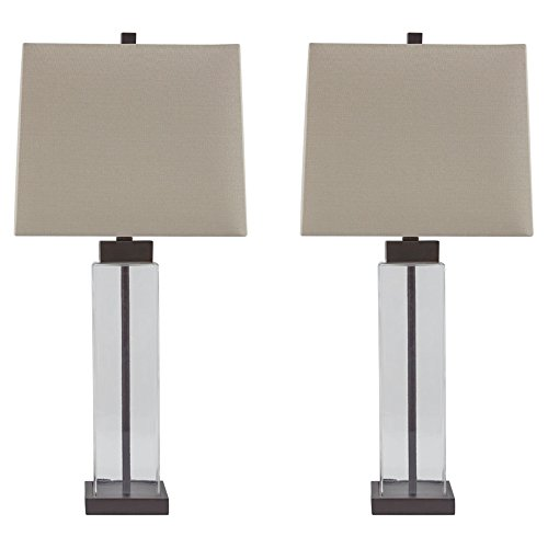 - Ashley Furniture Signature Design - Alvaro Table Lamp - Set of 2 - Clear/Bronze Finish