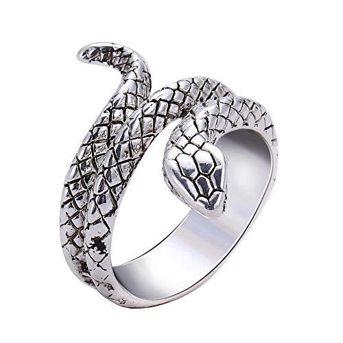 Bracet Personality Gothic Punk Snake Venom Coil Finger Ring Adjustable Size Unisex Retro Style