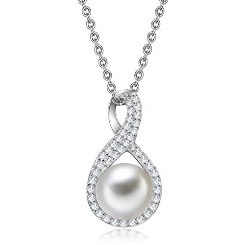 VOUCHON Pearl Necklace Sterling Silver Genuine Freshwater Cultured Pearl & Cubic Zirconia Infinity Pendant Necklace for Women Jewelry Gift for Mom