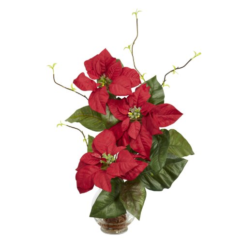 Nearly Natural 1263 Poinsettia with Fluted Vase Silk Flower Arrangement, Red