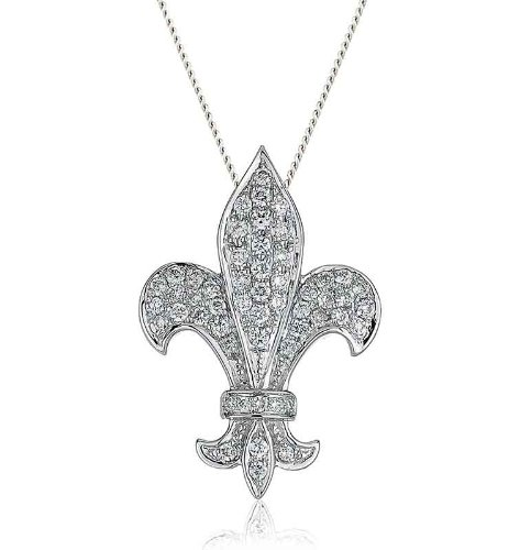 0.38CT Certified G/VS2 Round Brilliant Cut Micro Set Fleur De Lis Shape Diamond Pendant in 18K White Gold
