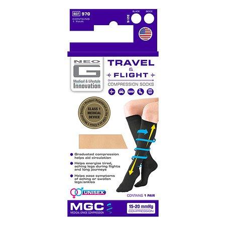 Neo G Travel & Flight Compression Socks Medium Beige - 3PC