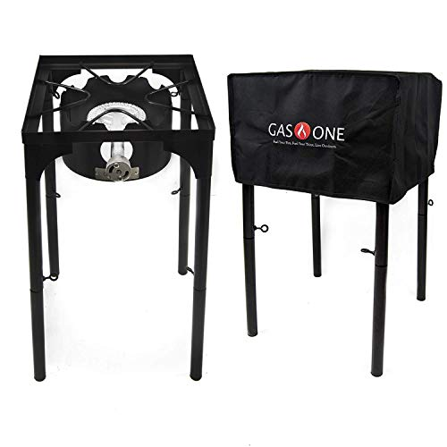 GasOne Propane Burner with Cover 100,000-BTU High Pressure Single Camp Stove & Steel Braided Regulator with Adjustable Legs Perfect for Brewing, Boiling Sap & Maple Syrup Prep