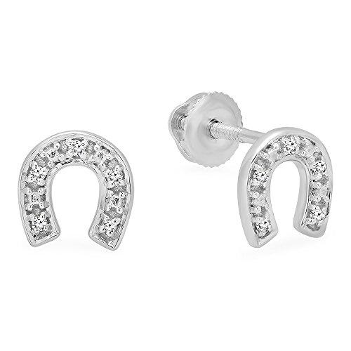 Dazzlingrock Collection 0.06 Carat ctw 10K Round White Diamond Horse Shoe Earrings, White Gold