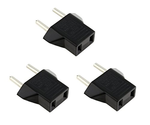 CHIBI USA to Europe Travel Power Plug Adapter - 3 PCs