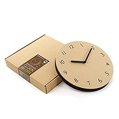 "THEHAKI Sandwich Clock 9"" Neutral Color Silent Quartz Non-ticking Simple Light Paper Wall Clock (230N, Kraft) - Material: Paper, EVA / Number type Size: 9.1""Dia x 0.8""Deep Very light(0.45lb) and safe sandwich style clock - wall-clocks, living-room-decor, living-room - 41X50xIAQjL. SS400  -"