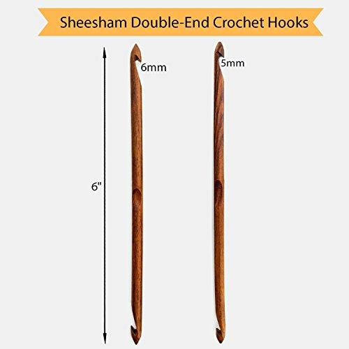 Premium Wooden Yarn Bowl 8''X4'' Large, 2 Crochet Hooks Bundle by YARN STORY (Image #2)