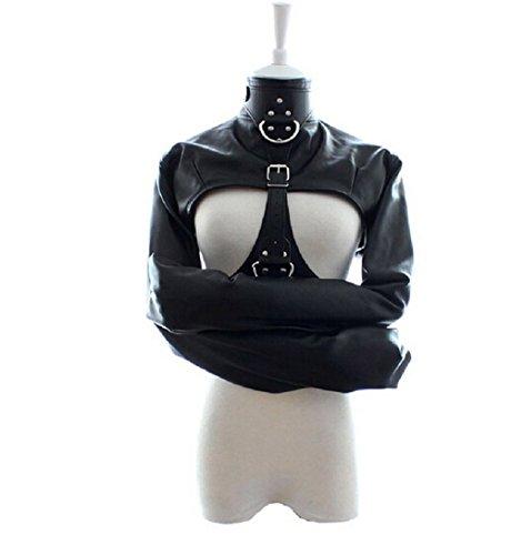 Fetish Female Open Bust Straitjacket Bondage Restraints Women's Costumes (Black) (Women Straitjacket)