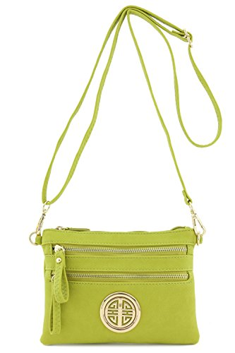 Medallion Lime (Multi Zipper Pocket Small Wristlet Crossbody Bag with Emblem (Lime))