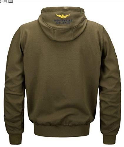 Winter Jacket Bomber Green Coat Zipper Gocgt Outwear Slim Hooded Jacket Men's Army Casual 5qxwSfY1U