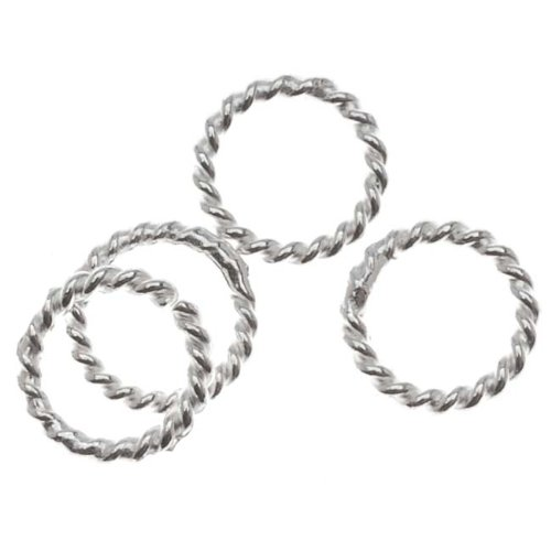 Beadaholique Sterling Silver Twisted Closed Jump Rings 6mm 20 Gauge (10)