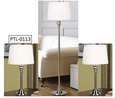 CO-Z Contemporary Pull-Chain On-Off Metal Table Lamp, Desk Lamp in Brushed Steel Finish with White Fabric Shade, ETL Certificate