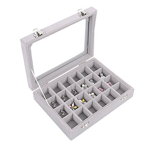 Ivosmart 24 Section Velvet Glass Jewelry Ring Display Organiser Box Tray Holder Earrings Storage Case ()