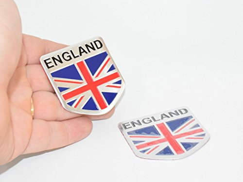 UK England Great Britain Union Jack 5Cm License Plate Flag Soft Aluminium Metal Car Badge Emblem Auto Fender Door Decal Trunk Adhesive Side Sticker Logo Trunk Side Body Hood Rep [2Pcs] SKU#5104-BX901 (Union Badges Jack)