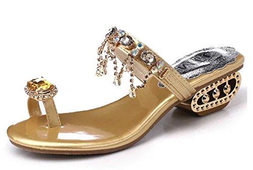 Minetom Damen Zehentrenner Sommer Faux Strass Quaste Strand Sandalen Pantoffeln Peep Toe Flip Flops Gold