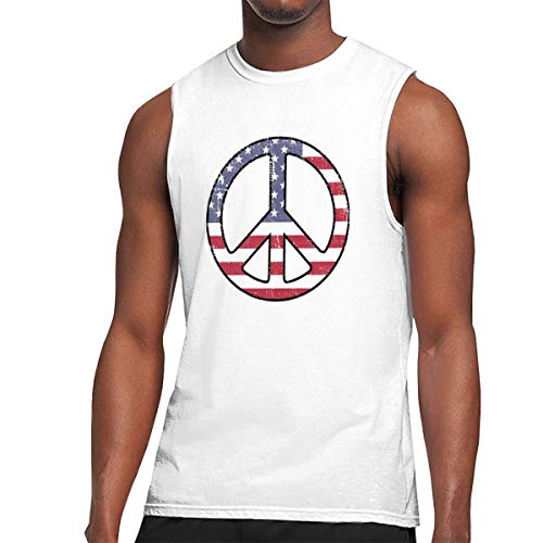 American Flag Peace Sign Funny Sleeveless T Shirts for Men Novelty Graphic Muscle Tank Tops Tees White XL