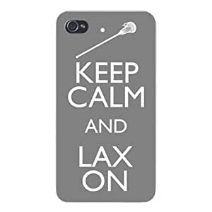 Apple Iphone Custom Case 4 4s White Plastic Snap on - Keep Calm and LAX (LaCrosse)