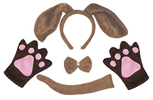 Petitebella Long Ear Dog Headband Bowtie Tail Gloves 4pc Costume Adult (One Size, Brown Dog)]()