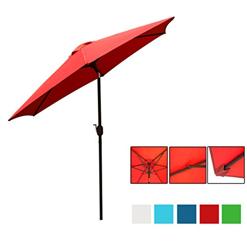 HollyHOME 9 Ft UV Protective Patio Umbrella, Push Button Tilt and Crank Market Table Umbrella