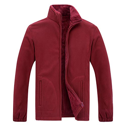 (Gatti Men's Performance Fleece Vest Full Zip Soft Fleece Jacket Red Size XS)