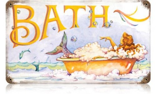 Past Time Signs V234 Mermaid Bath Home and Garden Vintage Metal Sign, 14 W X 8 H in. from Past Time
