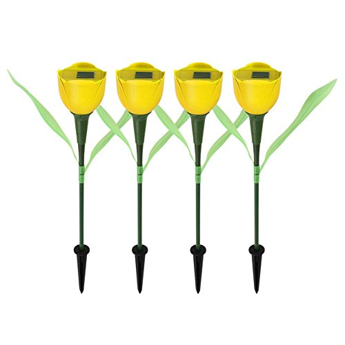 ered LED Lamp Tulip Flower Shaped Outdoor Yard Garden Lawn Path Lighting for Christmas New Year Party (1Pc-Yellow) ()