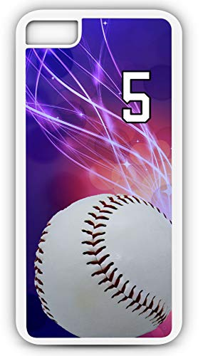 iPhone 8 Case Baseball B039Z Choice of Any Personalized Name or Number Tough Phone Case by TYD Designs in White Plastic and Black Rubber with Team Jersey Number 5