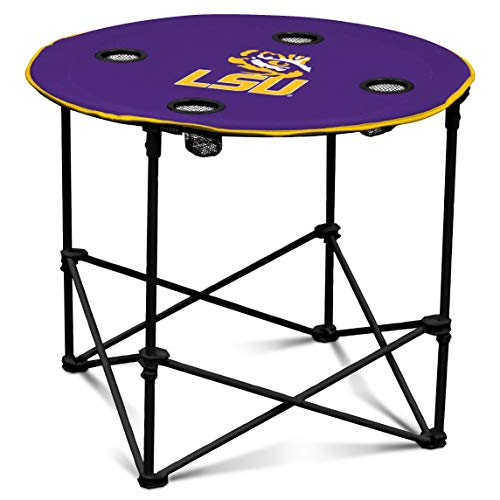 Ncaa Lsu Sports Table Tigers - LSU Fighting Tigers Collapsible Round Table with 4 Cup Holders and Carry Bag