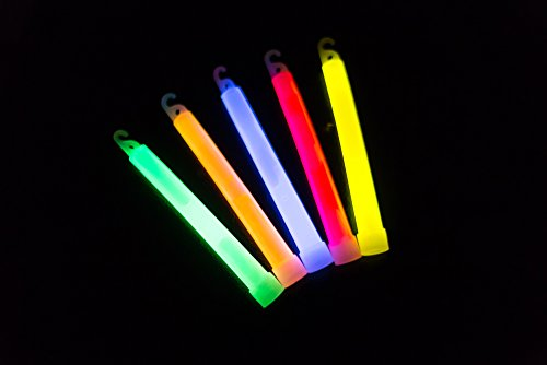 6 Inch Industrial Grade Glow sticks, Ultra Bright Emergency Light Sticks with 12 hours Duration ( Multi Color,Pack of 10)