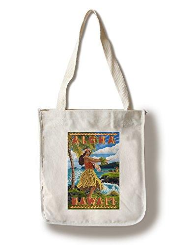 Lantern Press Hula Girl on Coast - Aloha Hawaii (100% Cotton Tote Bag - Reusable) -