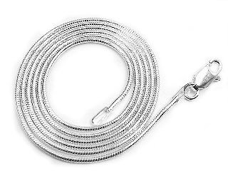 1mm Nickel Free Sterling Silver Italian Snake Chain Necklace 22