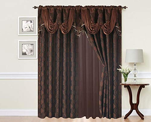 Fringe Panel (Elegant Home Window Curtain Drapes All-in-One Set with Valance & Sheer Backing & Tassels for Living Room, Bedroom, Dining Room, and Sliding Doors - Alison (Chocolate))