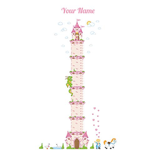 Personalized Growth Chart - Princess Castle Personalized Growth Chart Wall Decal for Kids Room