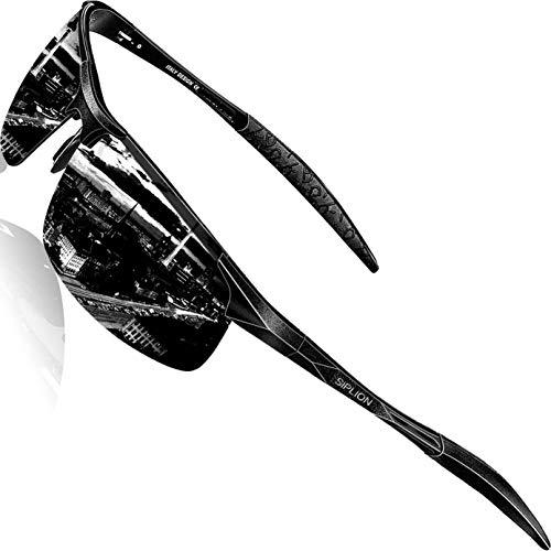 SIPLION Men's Driving Polarized Sport Sunglasses Al-Mg Metal Frame Ultra Light 8177 Black