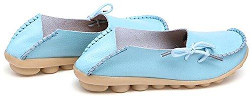 DADAWEN Women's Loafer Flats Sandals Slip-Ons Pump Boat Shoes Blue rWTlVqRjI