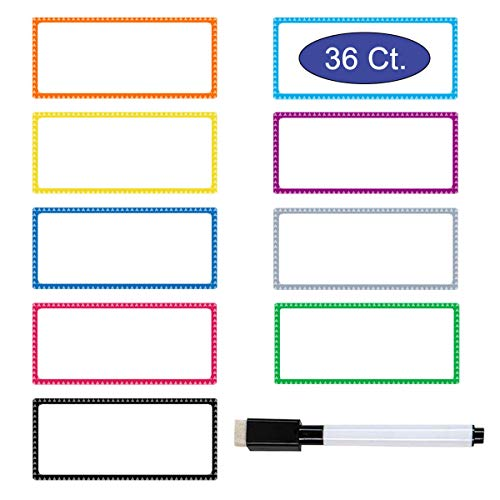 Pack of 36 Magnetic Dry Erase Labels, Yoklili Name Plate Labels Writable Reusable Flexible Magnet Name Tags Sticky Labels and Stickers for Whiteboards Refrigerator Crafts, 9 Colors