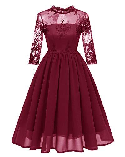 GABERLY Women's Luxury Embroidered Chiffon Lace Vintage Fashion Bridesmaid Evening Party Dress (Burgundy, Large) ()