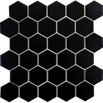 2''x2'' Black Hexagon Mosaic