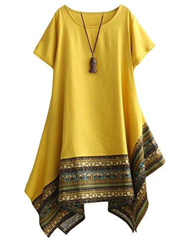 MatchLife - Vestido - vestido - Cuello redondo - Manga corta - para mujer amarillo