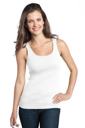 District Ladies Junior Fit 1x1 Rib Tank Top DT235 Bright White X-Small