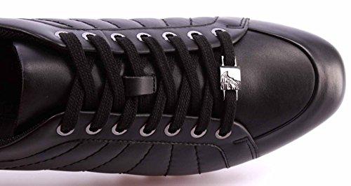 Uomo Logo Nuove New Nere Sneakers Pelle Scarpe Versace Collection Black Gunmetal Aqw5HF0Px