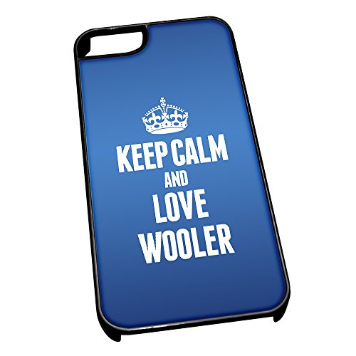 Nero cover per iPhone 5/5S, blu 0742 Keep Calm and Love Wooler