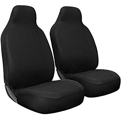Motorup America Auto Seat Cover 2pc Set Intergrated High Back Buckets - Fits Select Vehicles Car Truck Van SUV, Solid Black