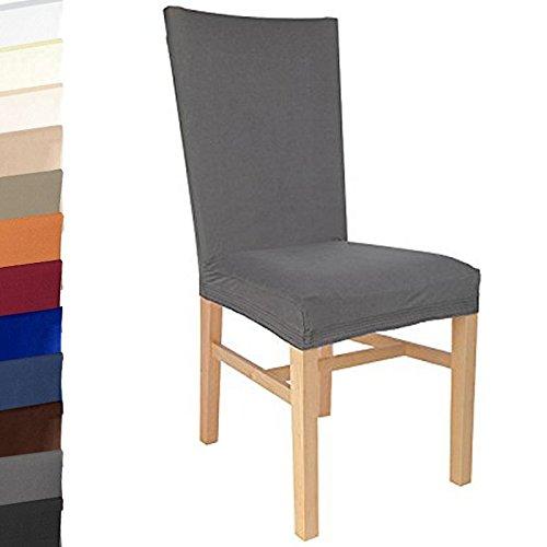 Beautissu® Stuhlhusse Stretch-Husse Grau Wildleder-Optik - Bezug bis 47 cm Sitzfläche und 65 cm Rückenhöhe