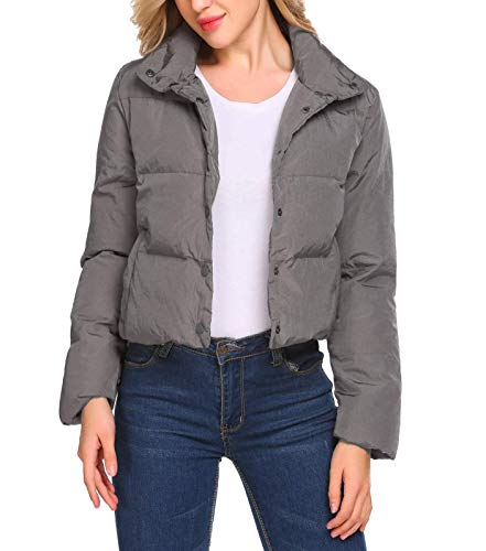 Bulges Women Warm Stand Collar Button Down Casual Short Puffer Quilted Jacket Gray XL ()