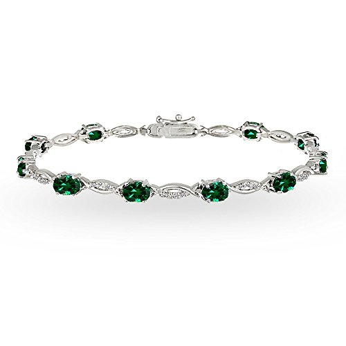 Sterling Silver Simulated Emerald and White Topaz Oval-Cut Swirl Tennis Bracelet